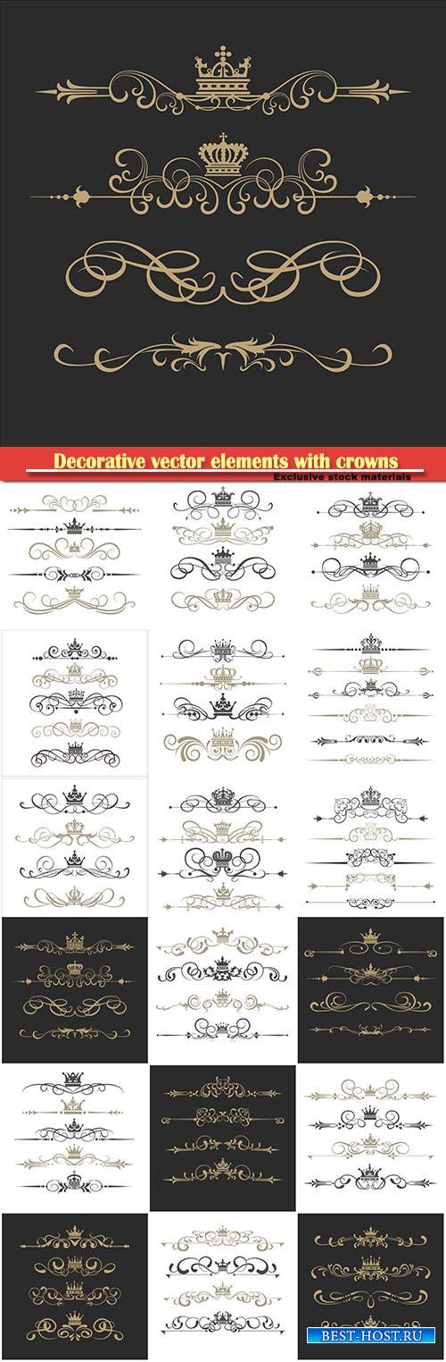 Decorative vector elements with crowns and ornaments