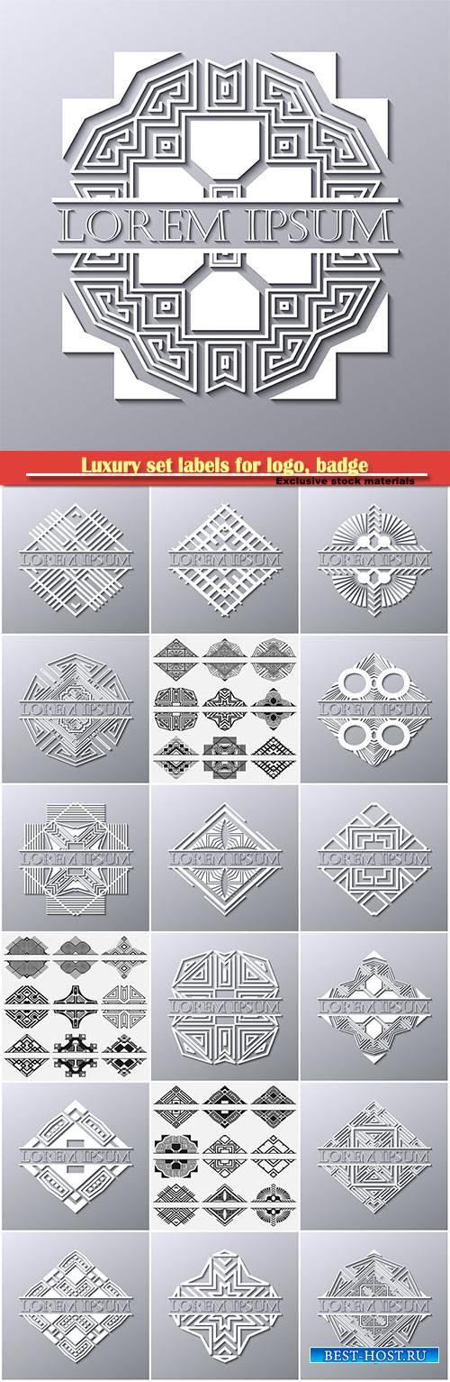 Luxury set labels for logo, badge for club, bar, cafe, restaurant
