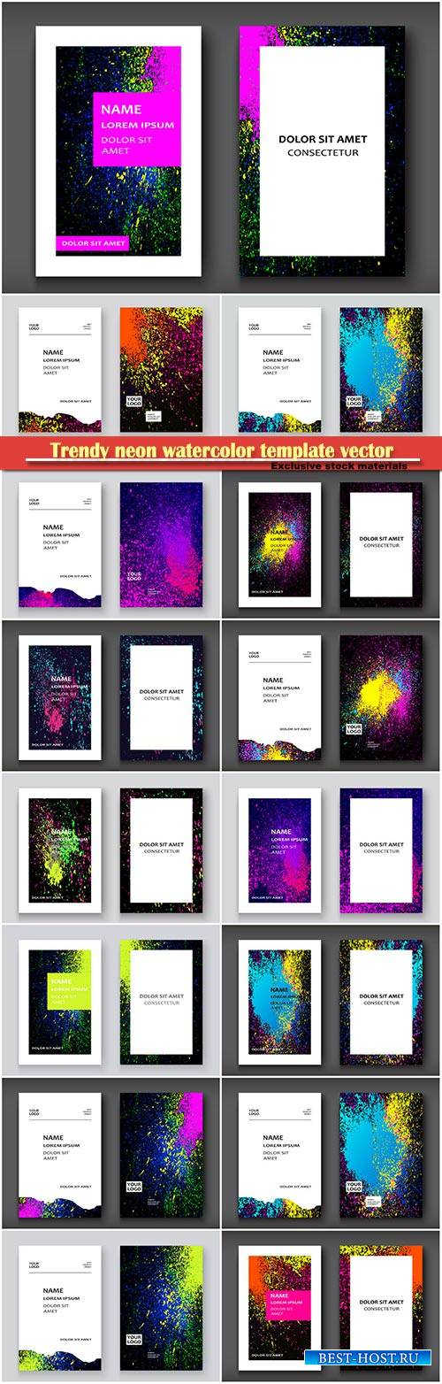 Trendy neon watercolor template vector illustration for flyer, business car ...
