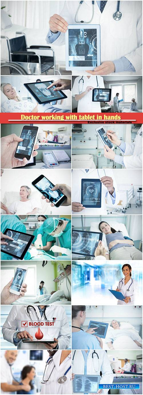 Doctor working with tablet in hands