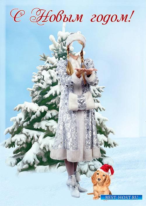 Женский фотошаблон - С Новым годом