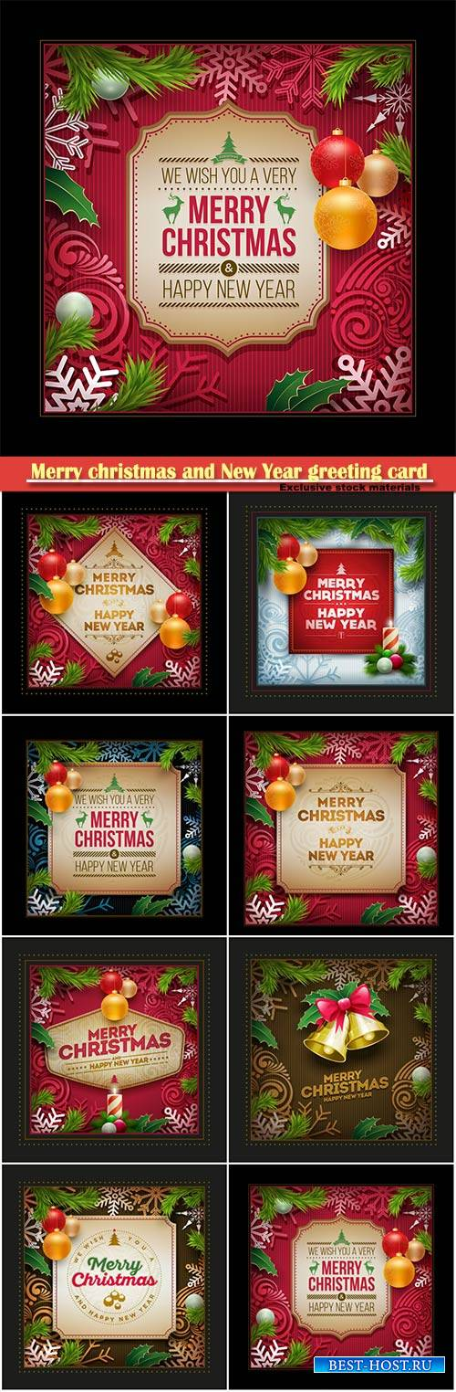 Merry christmas and New Year greeting card with christmas decorations