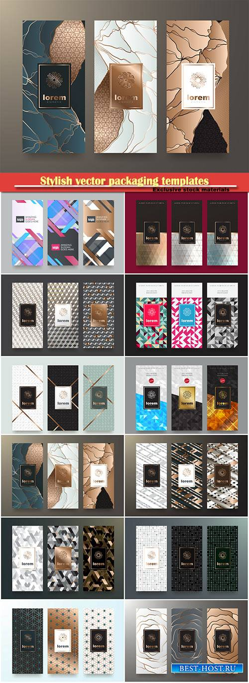 Stylish vector packaging templates for cosmetics