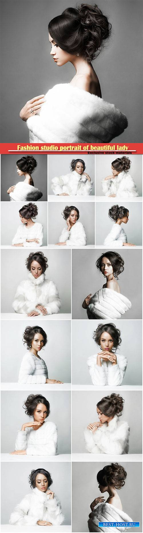 Fashion studio portrait of beautiful lady with elegant hairstyle in white f ...