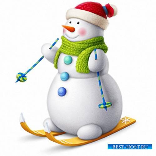 Клипарты для фотошопа - Веселые снеговики
