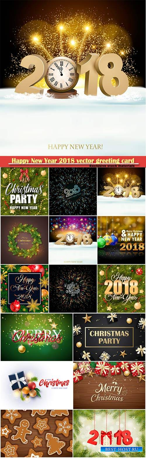 Happy New Year 2018 vector greeting card, golden snowflakes and colorful ba ...