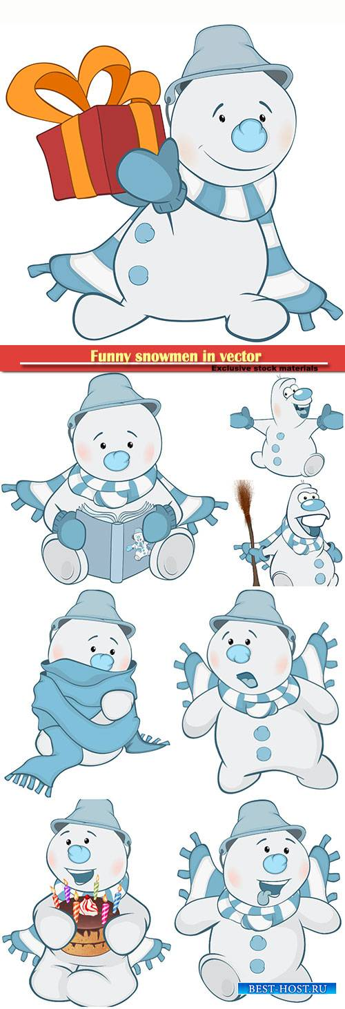 Funny snowman in vector