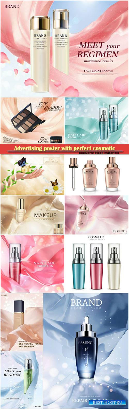 Advertising poster with perfect cosmetic product, 3d vector illustration