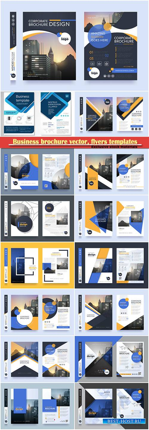 Business brochure vector, flyers templates, report cover design # 100