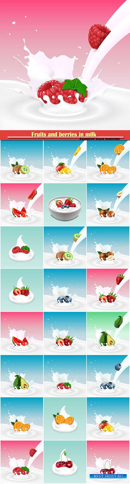 Fruits and berries in milk, vector illustration