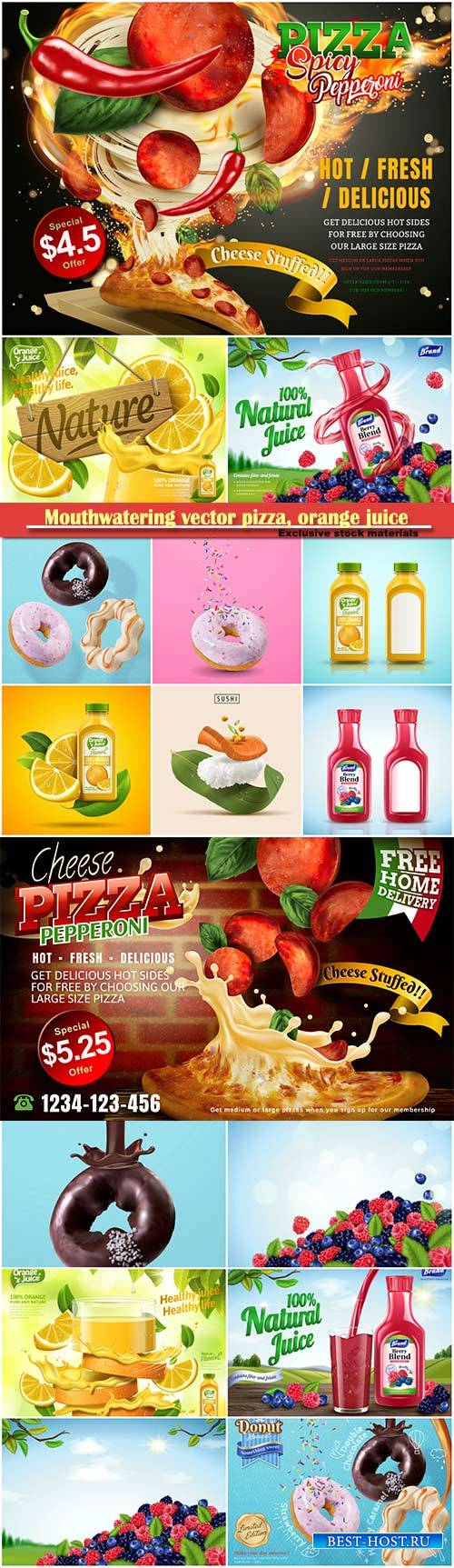 Mouthwatering vector pizza, orange juice, natural berry blend juice, tasty  ...