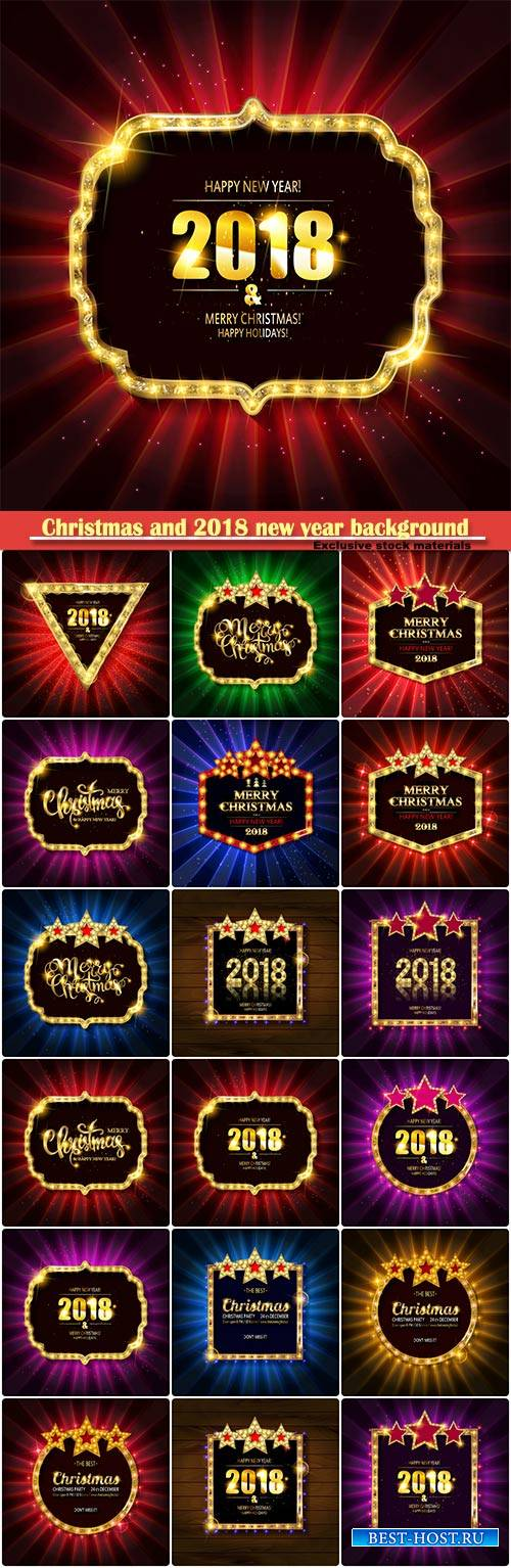 Christmas and 2018 new year background for design for banners, flyers, Invi ...