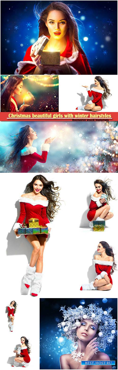Christmas beautiful girls with winter hairstyles