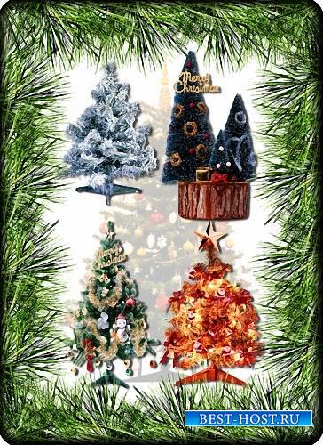 Клипарт прозрачный - Новогодние елки