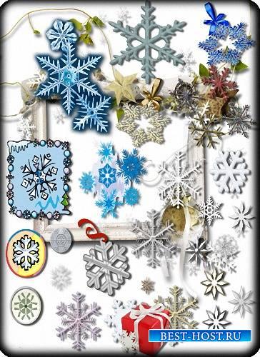 Растровый клипарт - Новогодние снежинки
