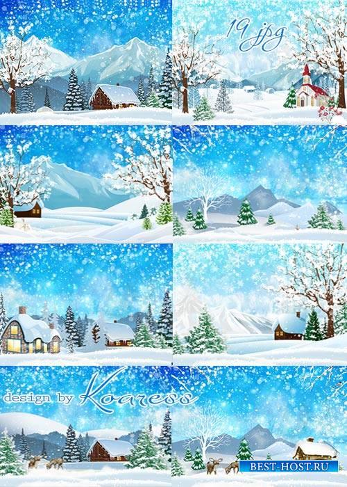 Набор растровых фонов jpg - Снежная зима