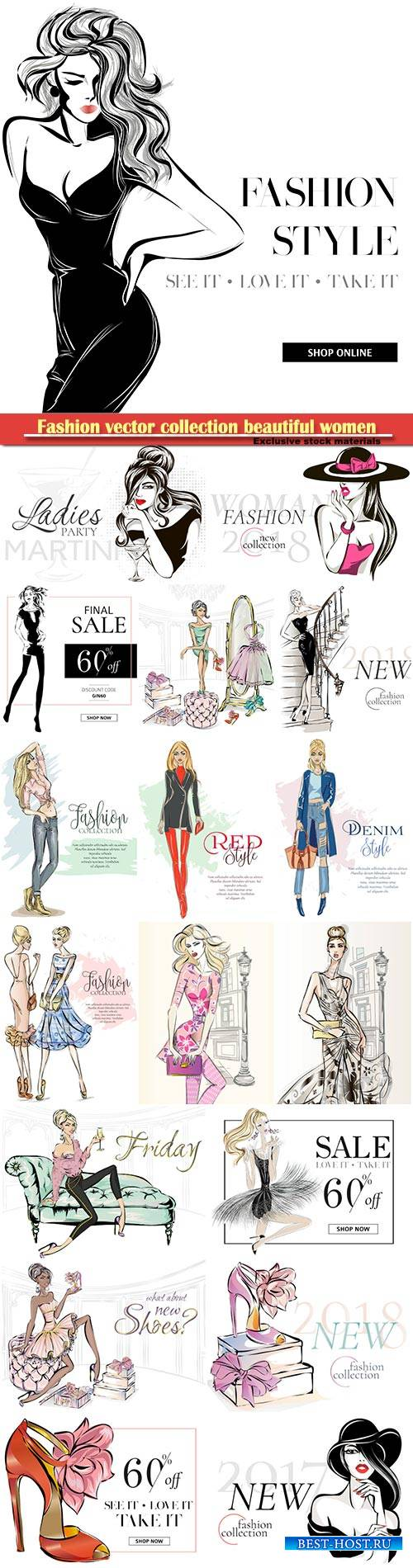Fashion vector collection beautiful women models