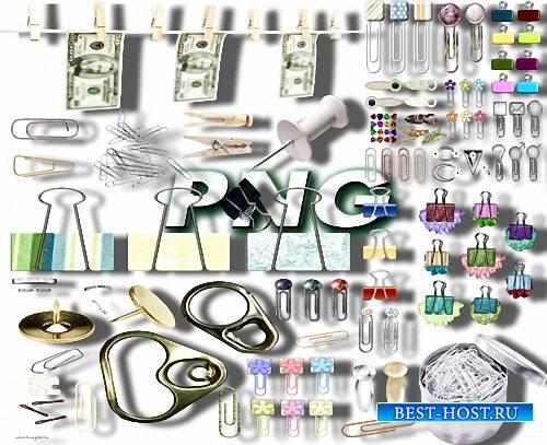 Клипарты на прозрачном фоне - Кнопки, прищепки, булавки