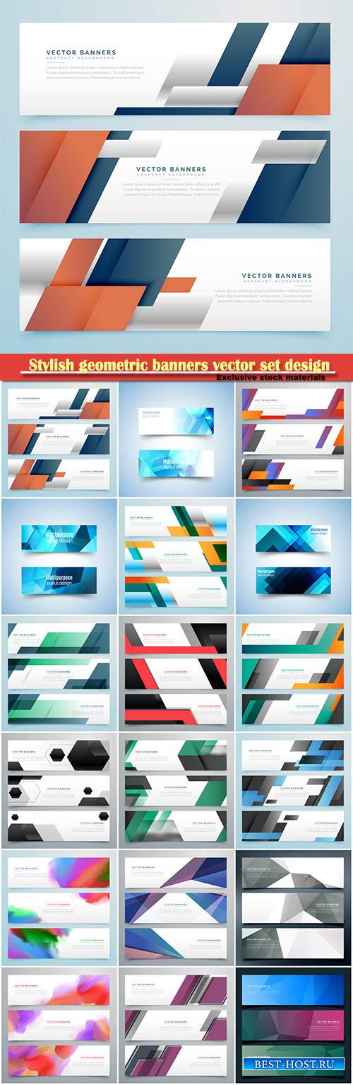 Stylish geometric banners vector set design