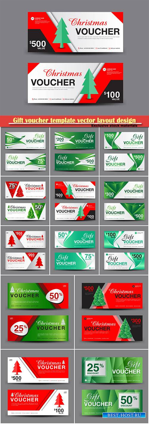 Gift voucher template vector layout design, discount card, banner illustrat ...