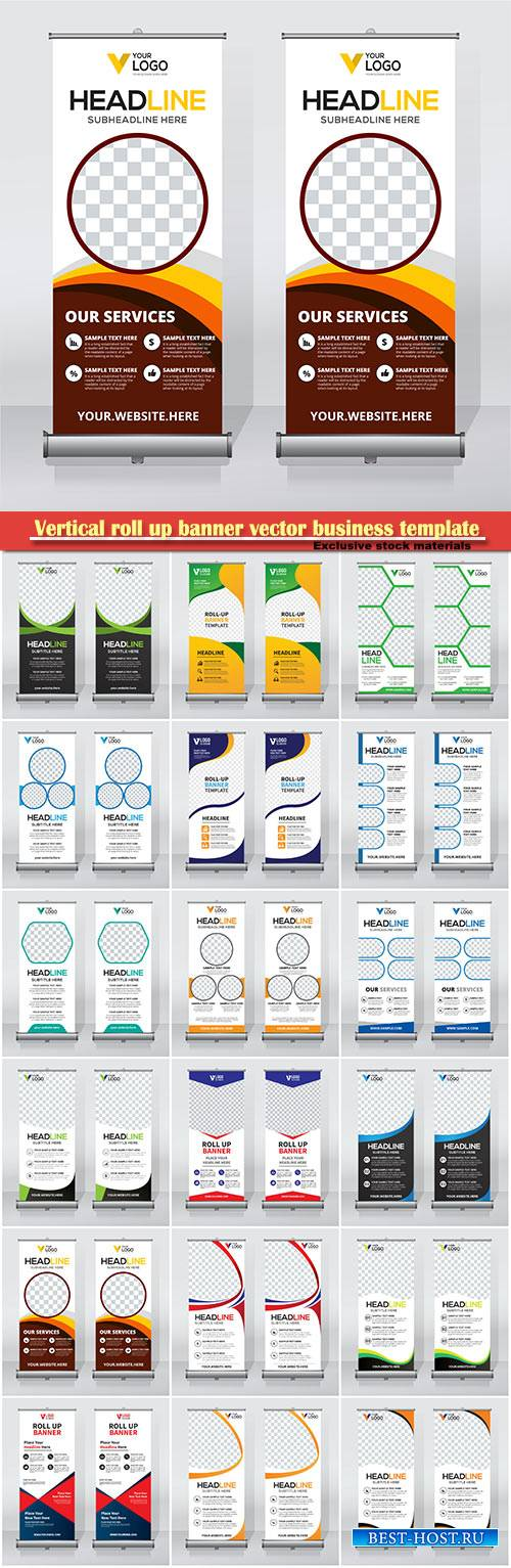 Vertical roll up banner vector business template # 7
