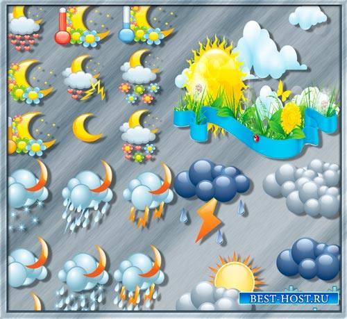 Новые клипарты - Облака, тучи, гром, молнии