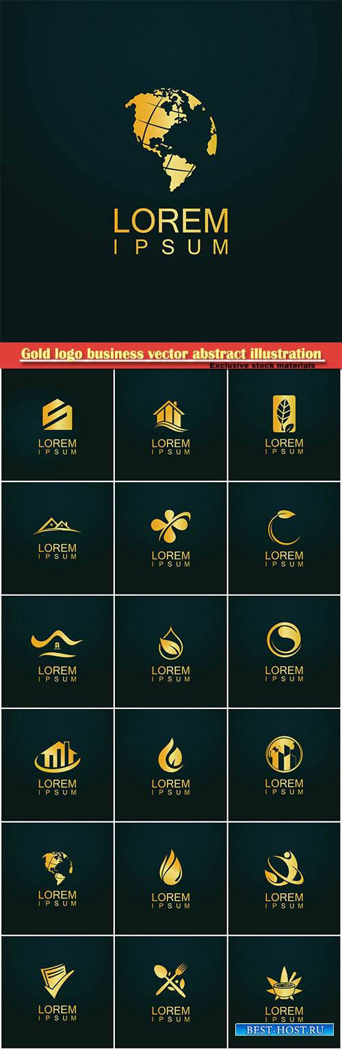 Gold logo business vector abstract illustration # 35