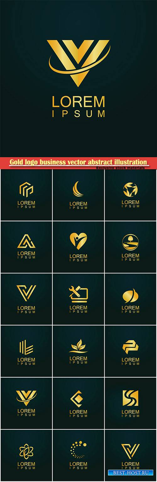 Gold logo business vector abstract illustration # 36