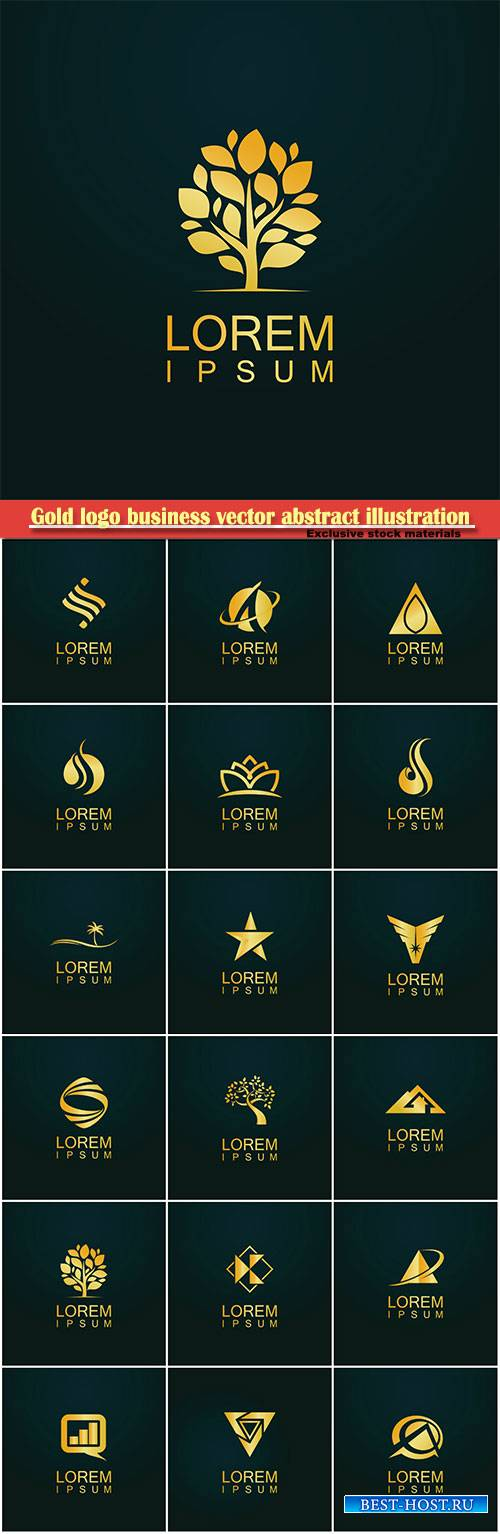 Gold logo business vector abstract illustration # 38