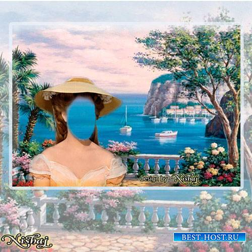 Женский фотошаблон - Морская прогулка