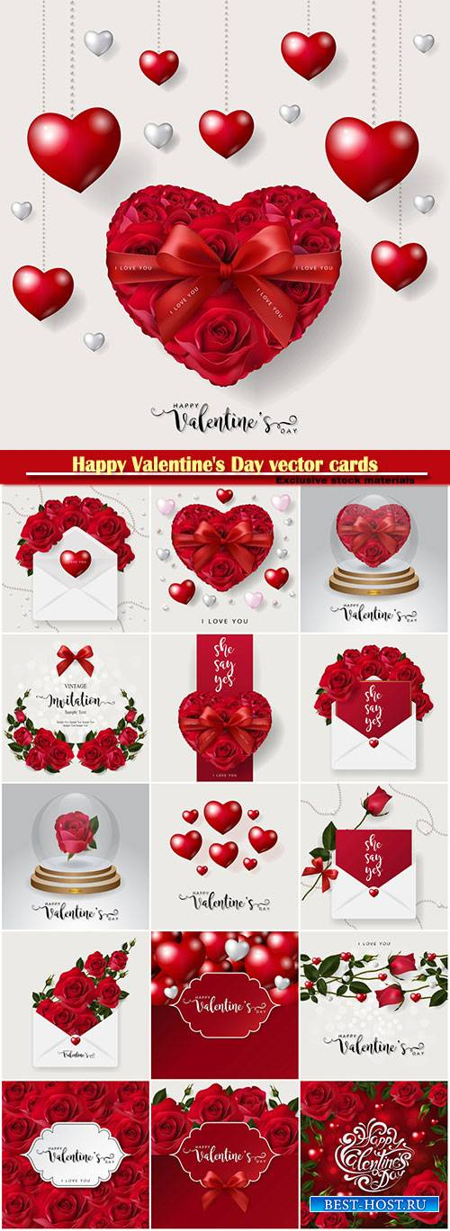 Happy Valentine's Day vector cards, red roses and hearts, romantic backgro ...