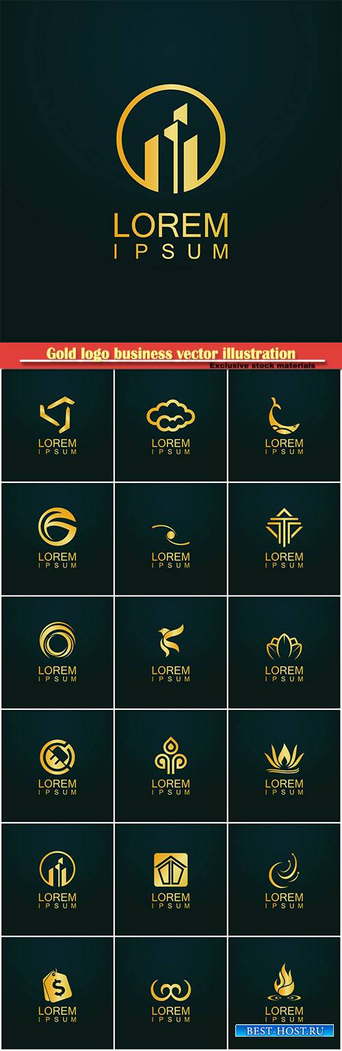 Gold logo business vector abstract illustration # 39