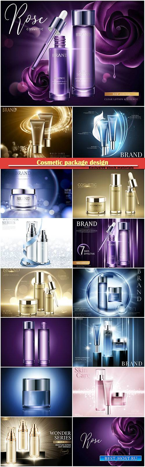 Cosmetic package design in 3d vector illustration
