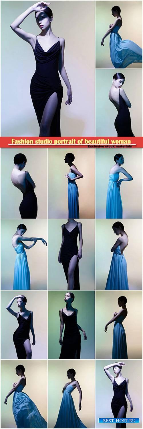 Fashion studio portrait of beautiful woman