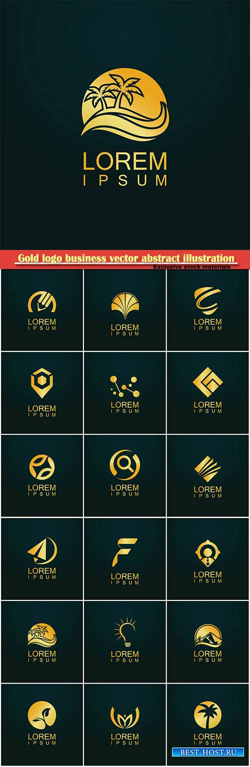 Gold logo business vector abstract illustration # 41