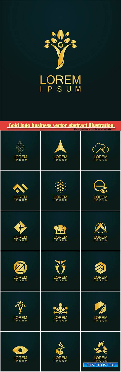 Gold logo business vector abstract illustration # 43