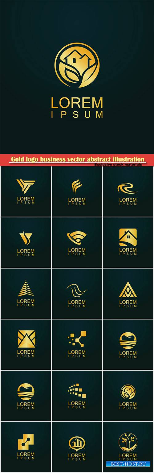 Gold logo business vector abstract illustration # 42