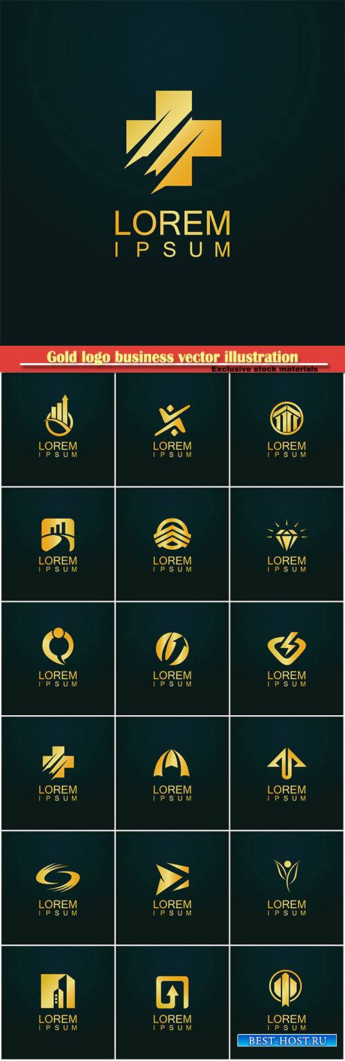 Gold logo business vector abstract illustration # 44