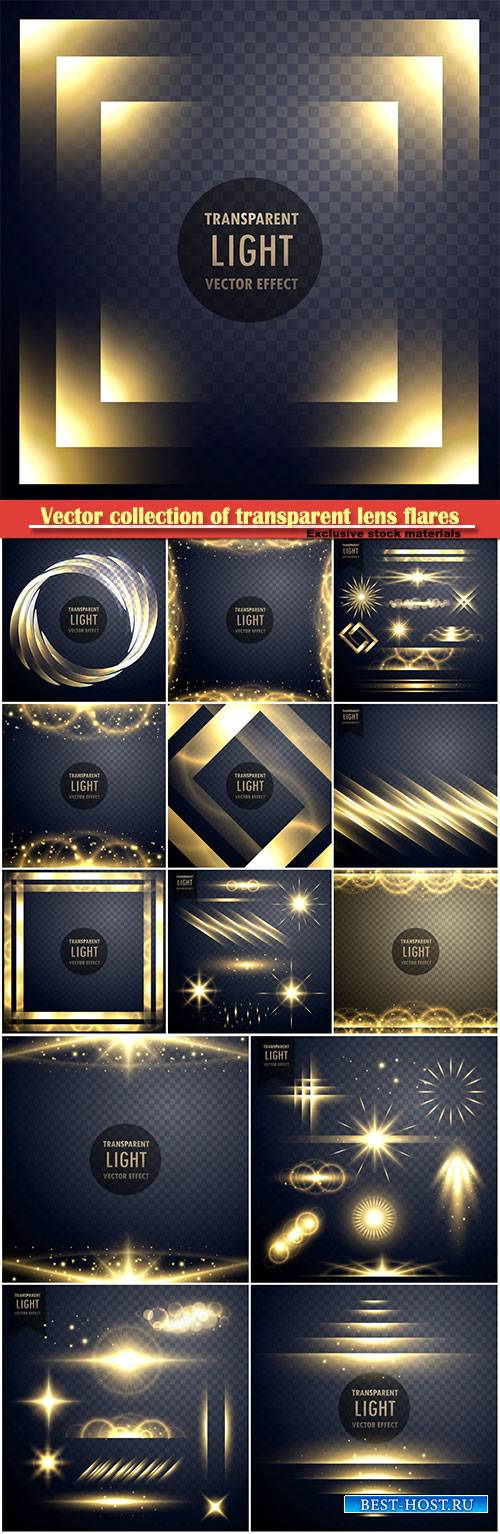 Vector collection of transparent lens flares light effect with twinkle stars