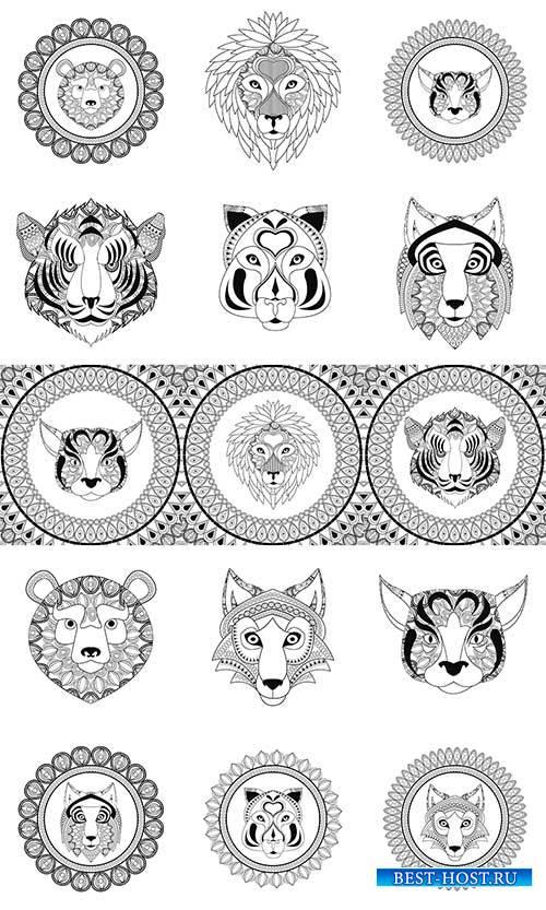 Тигр, лев, волк, рысь, медведь в векторе / Tiger, lion, wolf, lynx, bear in ...