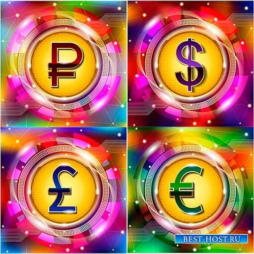 Фоны с символами денег в векторе / Background with money symbols in vector