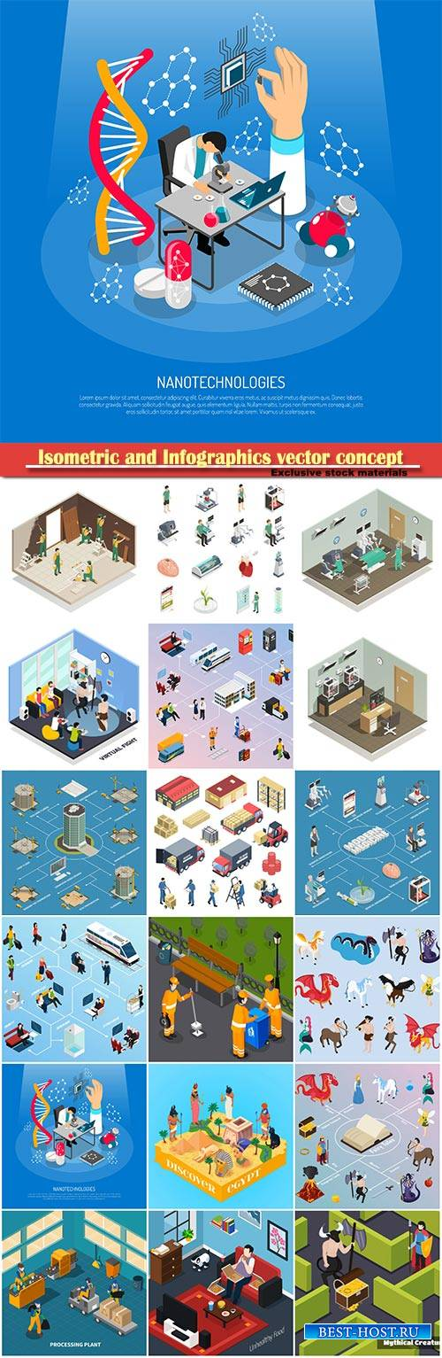 Isometric and Infographics vector concept, icon set on business style # 7