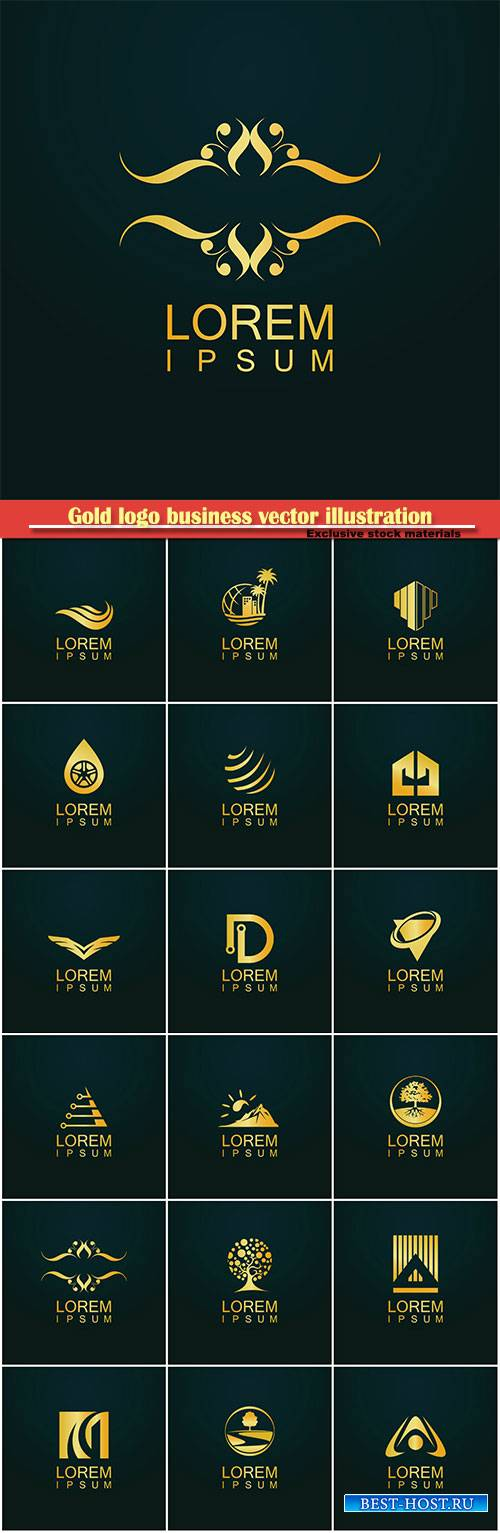 Gold logo business vector abstract illustration # 49