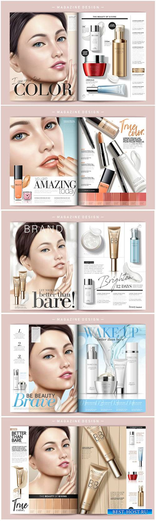 Cosmetic magazine vector template, attractive model with product containers ...