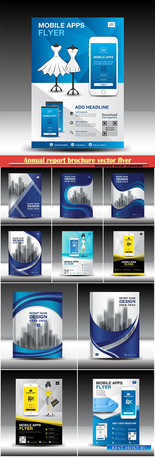Annual report brochure vector flyer template, book cover design