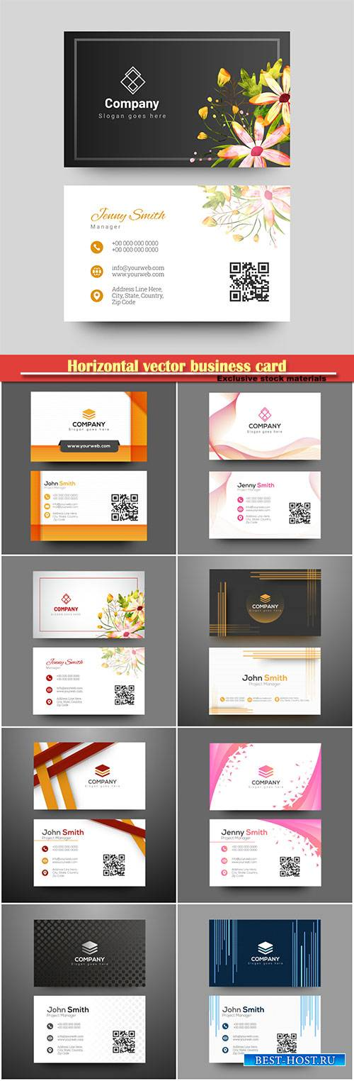Horizontal vector business card with front and back presentation # 2
