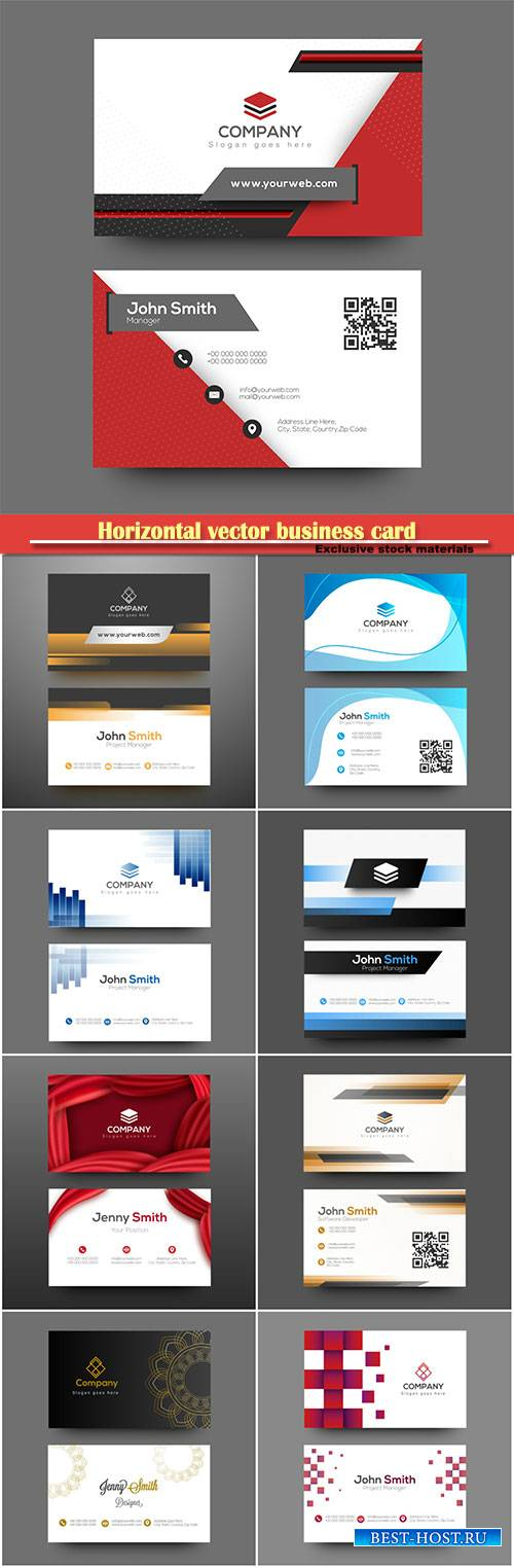 Horizontal vector business card with front and back presentation