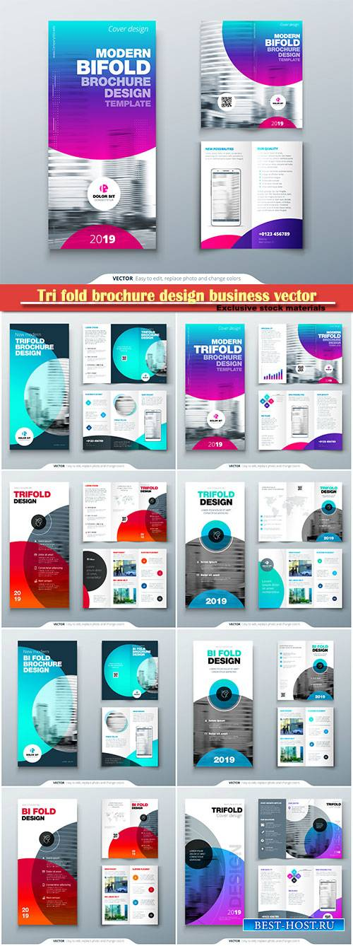 Tri fold brochure design business vector template