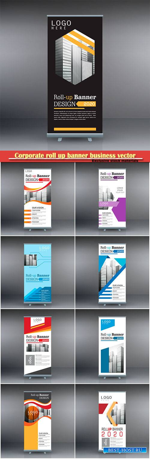 Corporate roll up banner business vector template