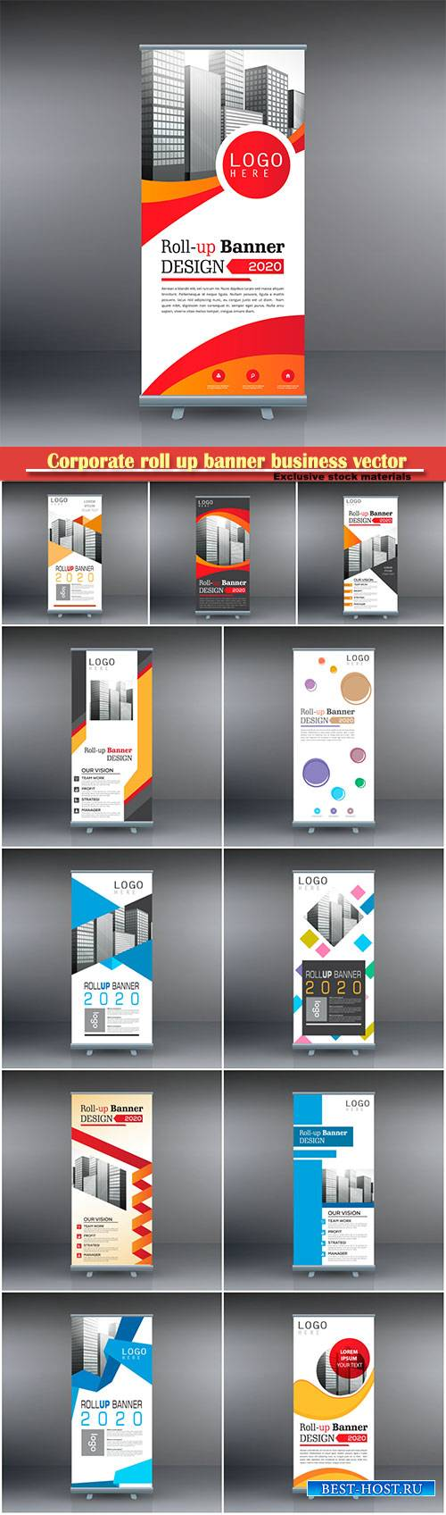 Corporate roll up banner business vector template # 2